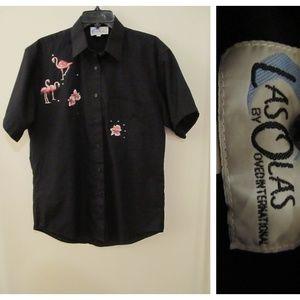 Las Olas Black Pink Flamingo Embroidered Shirt M
